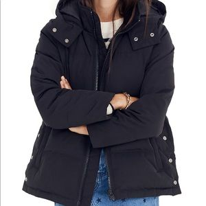 Madewell black quilted parka small, w/tags